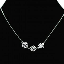 Collier pendentif Acier chirurgical Inox Trois fleurs Charm Colac037-Argenté