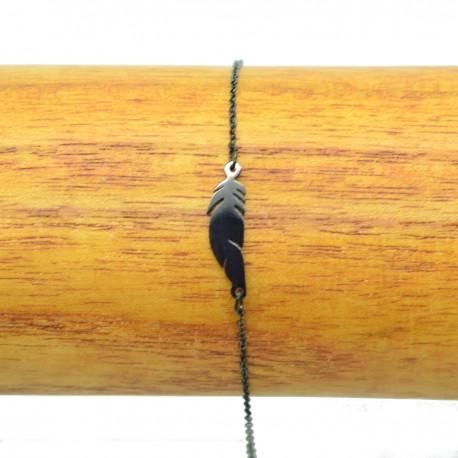Bracelet Acier chirurgical 316L Plume ciselé chaine fine Charm Réglable BRA004-Noir