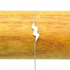 Bracelet Acier chirurgical 316L zig zag éclair ciselé chaine fine Charm BRA009-Argenté