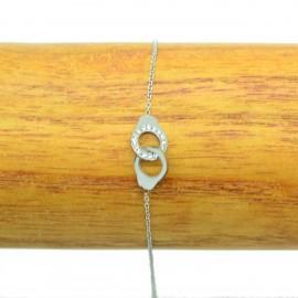 Bracelet Acier chirurgical 316L Menottes Strass chaine fine Charm BRA010-Argenté