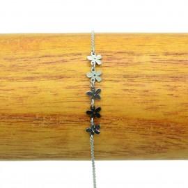 Bracelet Acier chirurgical 316L Fleur feuille ciselé chaine fine Charm BRA011-Argenté