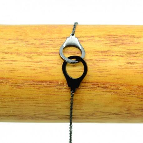Bracelet Acier chirurgical 316L Menottes chaine fine Charm BRA014-Noir