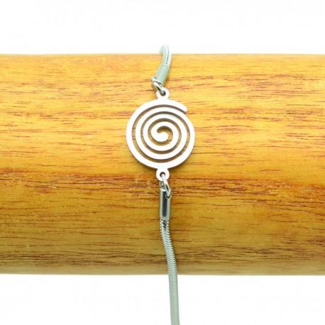 Bracelet Acier chirurgical 316L Spirale chaine fine Charm BRA015-Argenté