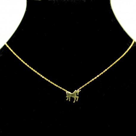 Collier pendentif Acier chirurgical Inox licorne cheval Charm Colac018-Doré