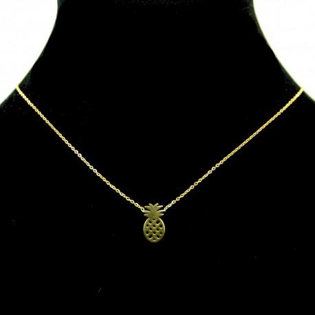 Collier pendentif Acier chirurgical Inox ananas Charm Colac027-Doré