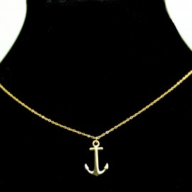 Collier pendentif Acier chirurgical Inox Ancre marine Charm Colac031-Doré