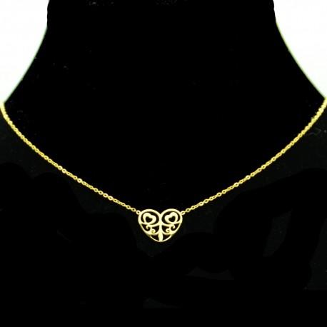 Collier pendentif Acier chirurgical Inox Coeur Charm Colac047-doré