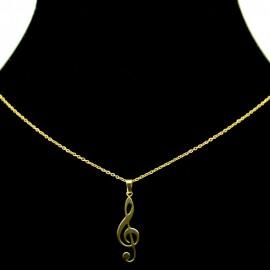 Collier pendentif Acier chirurgical Inox Clef de Sol Charm Colac042-doré