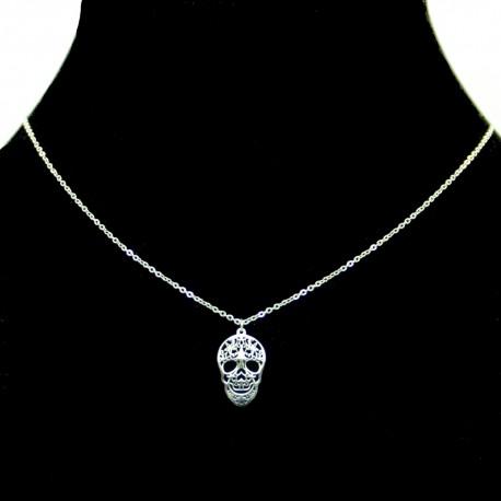 Collier pendentif Acier chirurgical Inox Tête de mort Charm Colac044-argenté