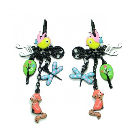 Boucles d'oreilles LOL Bijoux LOLILOTA L'oiseau et le renard BFLOL096-jaune