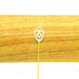 Bracelet Acier chirurgical 316L Tête de mort chaine fine Charm Réglable BRA018-Doré