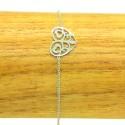 Bracelet Acier chirurgical 316L Coeur ciselé chaine fine Charm Réglable BRA019-Argenté