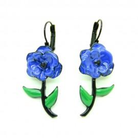 Boucles d'oreilles LOL Bijoux LOLILOTA La fleur BFLOL097-Bleu