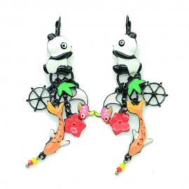 Boucles d'oreilles LOL Bijoux LOLILOTA Panda chinoi et saumon BFLOL102-Orange