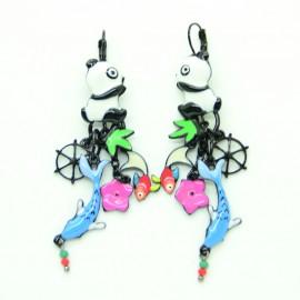 Boucles d'oreilles LOL Bijoux LOLILOTA Panda chinoi et saumon BFLOL102-Bleu