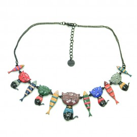 Collier LOL Bijoux LOLILOTA Le chat et les sardines COLOL049-multi