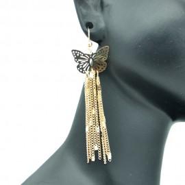 Boucles d'oreilles Papillon Filigranes en Métal Doré BFPLL003-Doré