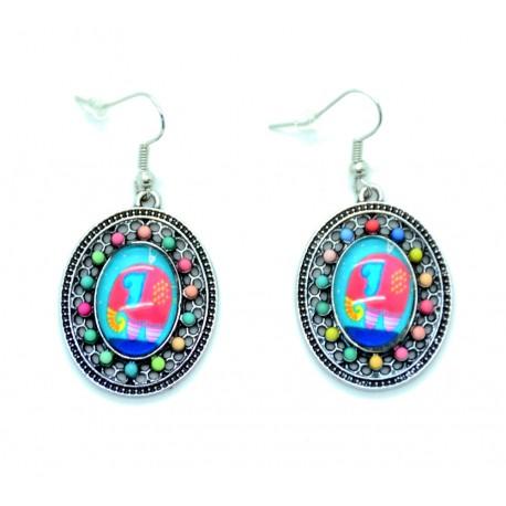 Boucles d'oreilles Cabochon en verre + éléphant BFPVM001-Bleu
