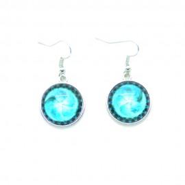 Boucles d'oreilles Cabochon en verre Bleu BFPVM012