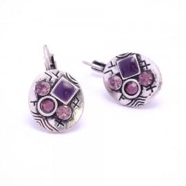 Boucles d'oreilles émaillées Dormeuse Strass petites et légères BFDSC006-violette