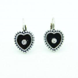 Boucles d'oreilles Dormeuse émaillée Coeur BFDEC009-noir
