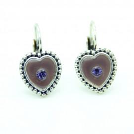 Boucles d'oreilles Dormeuse émaillée Coeur BFDEC009-violette