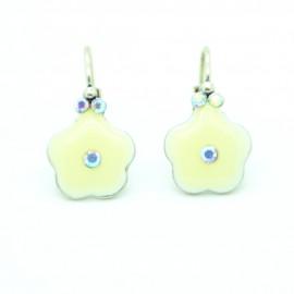 Boucles d'oreilles Dormeuse émaillée Fleur BFDEC010-blanc