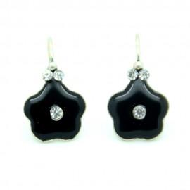 Boucles d'oreilles Dormeuse émaillée Fleur BFDEC010-noir