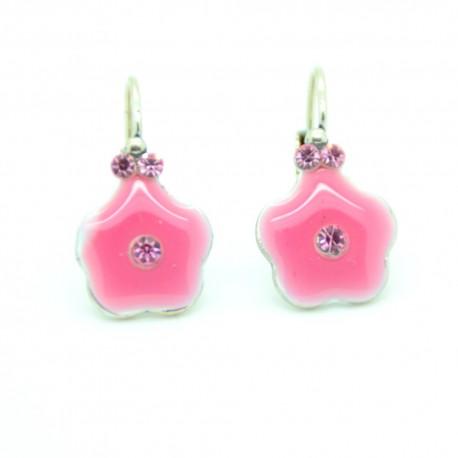 Boucles d'oreilles Dormeuse émaillée Fleur BFDEC010-rose