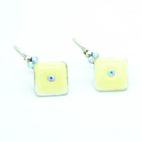 Boucles d'oreilles Dormeuse émaillée BFDEC011-blanc
