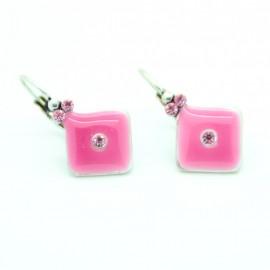Boucles d'oreilles Dormeuse émaillée BFDEC011-rose