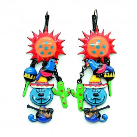 Boucles d'oreilles LOL Bijoux Le soleil de Mexico BFLOL034-bleu