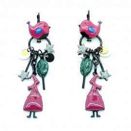 Boucles d'oreilles LOL Bijoux LOLILOTA La fée et l'oiseau BFLOL069-bordeaux