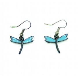 Boucles d'oreilles Emaillées la petite libéllule BFPEM007-bleu