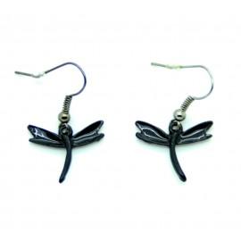 Boucles d'oreilles Emaillées la petite libéllule BFPEM007-noir