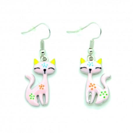Boucles d'oreilles Emaillées le petit chat BFPEM008-Rose