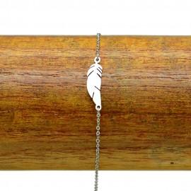 Bracelet Acier 316L Plume ciselé chaine fine Charm Réglable BRA004-Argenté