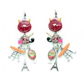 Boucles d'oreilles LOL Bijoux LOLILOTA le chat et la Tour Eiffel BFLOL074-bordeaux