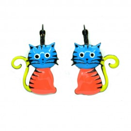 Boucles d'oreilles LOL Bijoux LOLILOTA Le chat assis BFLOL052-bleu