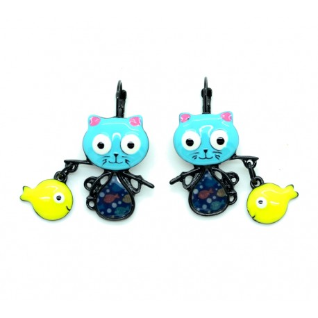 Boucles d'oreilles LOL Bijoux LOLILOTA Le chat pêcheur Poisson BFLOL053-bleu