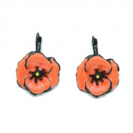 Boucles d'oreilles LOL Bijoux LOLILOTA Fleur coquelicot orange BFLOL086