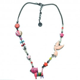 Collier LOL Bijoux LOLILOTA Le petit chat debout COLOL042-rose