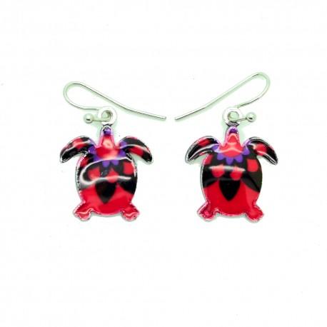 Boucles d'oreilles Emaillées la petit tortue BFPEM009-rouge