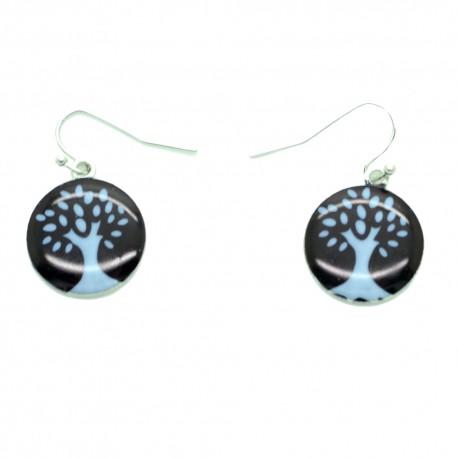 Boucles d'oreilles Emaillées l'arbre de vie BFPEM010-noir