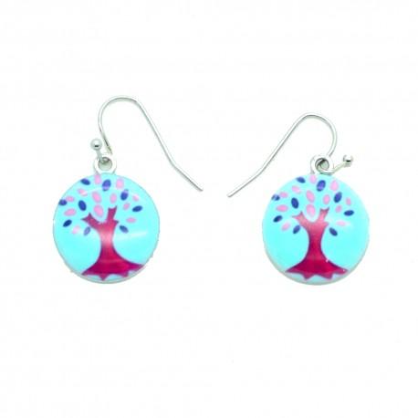 Boucles d'oreilles Emaillées l'arbre de vie BFPEM010-bleu