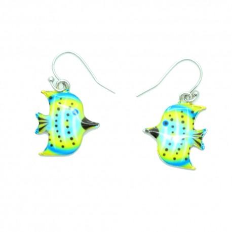 Boucles d'oreilles Emaillées le petit poisson BFPEM011-bleu