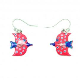 Boucles d'oreilles Emaillées le petit poisson BFPEM011-rouge