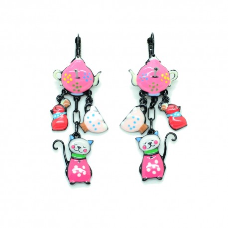 Boucles d'oreilles LOL Bijoux LOLILOTA La Theiere le chat et la souris BFLOL092-fushia