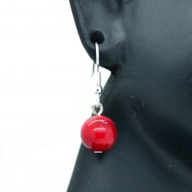 Boucles d'oreilles veritable Corail sur crochets acier chirurgical 316L BAPPC001-rouge