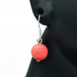 Boucles d'oreilles veritable Corail sur crochets acier chirurgical 316L BAPPC001-Rose